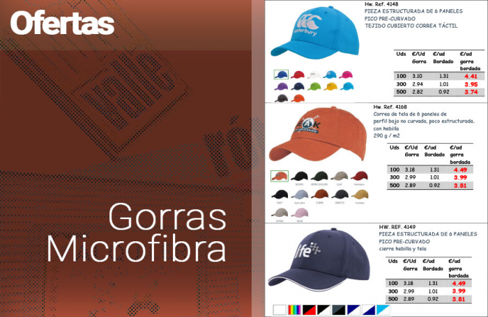 Gorras bordadas de Microfibra en Oferta