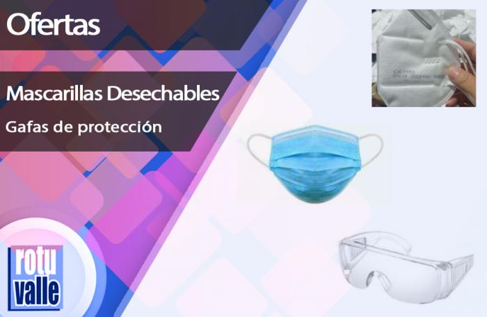 Mascarillas desechables y gafas de protección