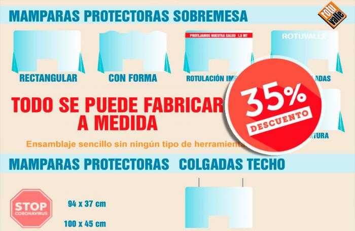 Mamparas Protectoras para comercios, vinilos y carteles indicativos para corona virus especial industria 35% descuento